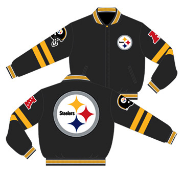 newest 69b93 89274 Pittsburgh Steelers / Charcoal and Black - NFL Wool Reversible Jacket
